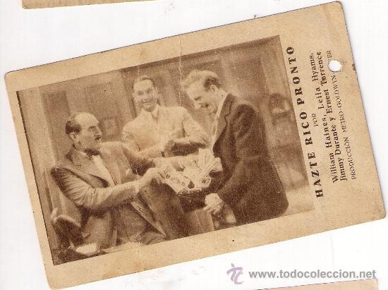 HAZTE RICO PRONTO, TARJETA METRO GOLDWYN MAYER, AÑOS 30, JIMMY DURANTE (Cine - Folletos de Mano - Comedia)