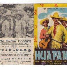 Cine: PROGRAMA DOBLE - HUAPANGO - AÑO 1937 - PUBLICIDAD EN CINE RECREO. Lote 30448799