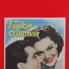 Cine: EL GONG DE LA VICTORIA, PROGRAMA ORIGINAL MGM, ROBERT TAYLOR,, M. O'SULLIVAN, EXCELENTE ESTADO SP. Lote 30576559