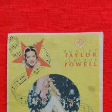 Cine: LA MELODIA DE BROADWAY, 1936, SENCILLO MGM, ROBERT TAYLOR, ELEANOR POWELL, CP TEATRO NUEVO ALFORJA. Lote 30576688