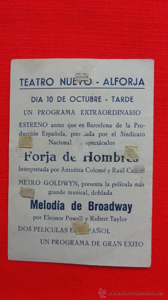 Cine: LA MELODIA DE BROADWAY, 1936, SENCILLO MGM, ROBERT TAYLOR, ELEANOR POWELL, CP Teatro Nuevo Alforja - Foto 2 - 30576688