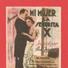 Cine: MI MUJER LA SEÑORITA X, IRENE AGAR, PAL JAVOR, SENCILLO ORIGINAL ARAJOL, SP. Lote 30887213
