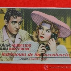 Cine: MATRIMONIO DE INCONVENIENCIA, IMPECABLE SENCILLO 1946, LOUISE ALLBRITTON DIANA BARRYMORE, CON PUBLI. Lote 30938257
