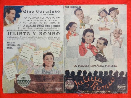 JULIETA Y ROMEO, PROGRAMA DOBLE 1943, CON PUBLICIDAD GARCILASO (Cine - Folletos de Mano - Drama)