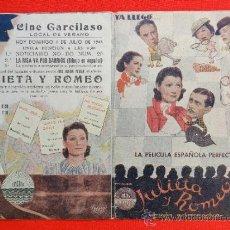 Cine: JULIETA Y ROMEO, PROGRAMA DOBLE 1943, CON PUBLICIDAD GARCILASO. Lote 30938569