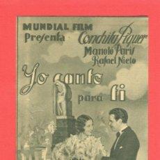 Cine: YO CANTO PARA TI, IMPECABLE DOBLE, CONCHITA PIQUER, MANOLO PARIS, 1935, CON PUBLICIDAD SALÓ KURSAAL. Lote 31000487