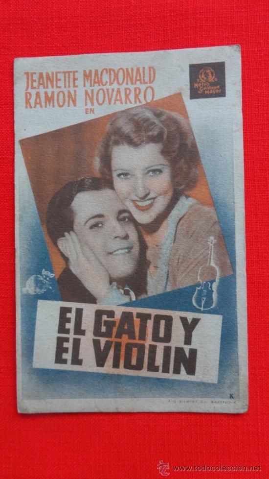 EL GATO Y EL VIOLIN, CARTÓN METRO, JEANETTE MACDONALD RAMON NOVARRO, 1936, EXCLTE EST CP PRINCIPAL (Cine - Folletos de Mano - Musicales)