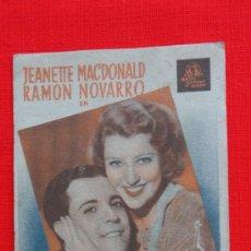 Cine: EL GATO Y EL VIOLIN, CARTÓN METRO, JEANETTE MACDONALD RAMON NOVARRO, 1936, EXCLTE EST CP PRINCIPAL. Lote 31036649