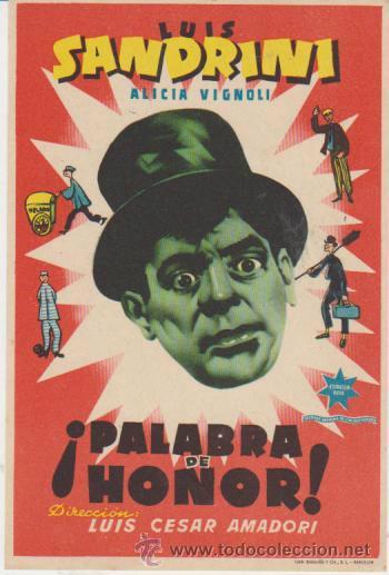 ¡PALABRA DE HONOR! SENCILLO DE ESTRELLA AZUL. (Cine - Folletos de Mano - Comedia)