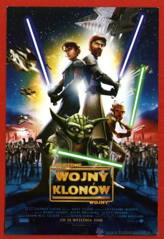 LAS GUERRAS CLON - STAR WARS - RARO PROGRAMA DE MANO POLACO - POLONIA 2008 (Cine - Folletos de Mano - Infantil)