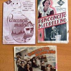 Cine: RINCONCITO MADRILEÑO - TRES PROGRAMAS DIFERENTES - CON PUBLICIDAD. Lote 31051664
