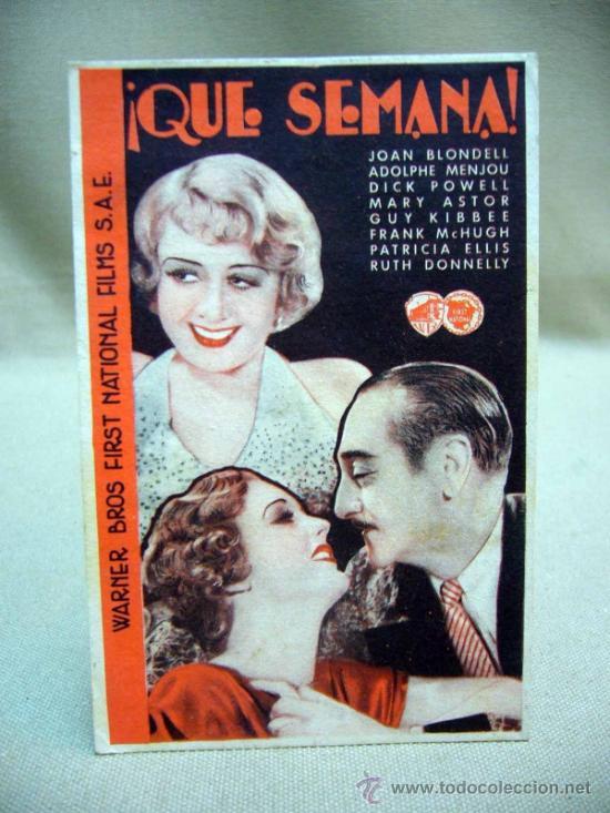 QUE SEMANA, WARNER BROS, PROGRAMA CINE, SENCILLO, 1934 (Cine - Folletos de Mano - Comedia)