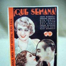 Cine: QUE SEMANA, WARNER BROS, PROGRAMA CINE, SENCILLO, 1934. Lote 31117118