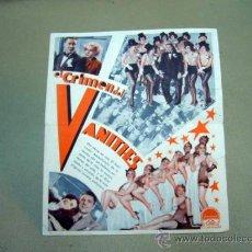Cine: EL CRIMEN DEL VANITIES, , PROGRAMA CINE, DOBLE, PARAMOUNT, EARL CARROLL, 1935. Lote 31127382