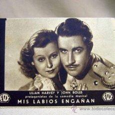 Cine: PROGRAMA DE CINE, FOLLETO DE MANO, TARJETA, MIS LABIOS ENGAÑAN, LILIAN HARVEY, FOX. Lote 31265086