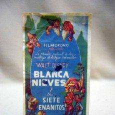 Cine: PROGRAMA DE CINE, FOLLETO DE MANO, BLANCA NIEVES Y LOS SIETE ENANITOS, FILMOFONO, 1942. Lote 31265252
