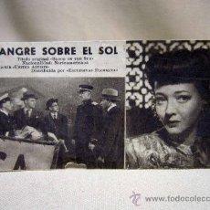 Cine: PROGRAMA DE CINE, FOLLETO DE MANO, TARJETA, SANGRE SOBRE EL SOL. Lote 31265314