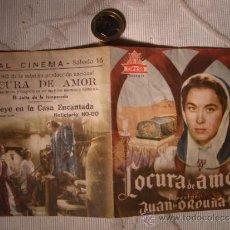 Cine: ANTIGUO FOLLETO DOBLE PELICULA LOCURA DE AMOR.- PROYECTADA EN ELCHE, AÑOS 30/40. Lote 31173104