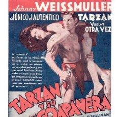 Cine: TARZAN Y SU COMPAÑERA JOHNNY WEISSMULLER MAUREEN OSULLIVAN PROGRAMA ORIGINAL DOBLE CINE IMPRESO. Lote 31232327
