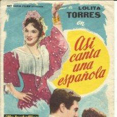 Cine: FOLLETO DE MANO - ASÍ CANTA UNA ESPAÑOLA. Lote 31277364