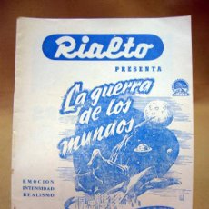 Cine: PROGRAMA DE CINE, FOLLETO DE MANO, RIALTO, LA GUERRA DE LOS MUNDOS. Lote 31873283