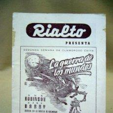 Cine: PROGRAMA DE CINE, FOLLETO DE MANO, RIALTO, LA GUERRA DE LOS MUNDOS. Lote 31873287