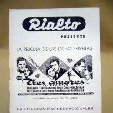 Cine: PROGRAMA DE CINE, FOLLETO DE MANO, RIALTO, TRES AMORES. Lote 31873732