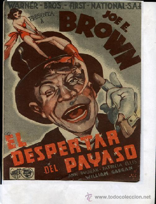 EL DESPERTAR DE UN PAYASO, DISTRIBUIDORA WARNER BROS . DOBLE (Cine - Folletos de Mano - Comedia)