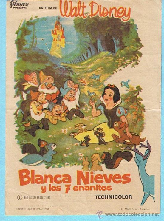 BLANCA NIEVES Y LOS 7 ENANITOS. WALT DISNEY. CINE CAPITOL, TARRAGONA (Cine - Folletos de Mano - Infantil)