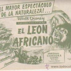 Cine: EL LEÓN AFRICANO. DOBLE DE RKO RADIO. CINE PRADO - LA HABANA 1957.. Lote 31370654