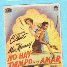 Cine: NO HAY TIEMPO PARA AMAR. CLAUDETTE COLBERT, FRED MAC MURRAY. CINE FEMINA, MORELL. Lote 31467448