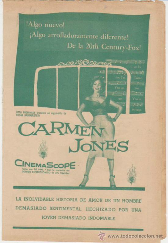 CARMEN JONES. DOBLE DE 20TH CENTURY FOX. TEATRO LUISA - LA HABANA 1955. (Cine - Folletos de Mano - Documentales)