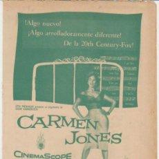 Cine: CARMEN JONES. DOBLE DE 20TH CENTURY FOX. TEATRO LUISA - LA HABANA 1955.. Lote 31517931