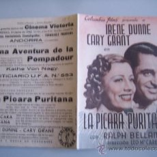 Cine: LA PICARA PURITANA CARY GRANT COLUMBIA - FOLLETO DE MANO DOBLE ORIGINAL ESTRENO CON CINE IMPRESO. Lote 31564110