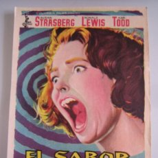 Cine: EL SABOR DEL MIEDO COLUMBIA - FOLLETO DE MANO ORIGINAL ESTRENO SUSAN STRASBERG CHRISTOPHER LEE. Lote 31628938