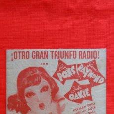 Cine: EL MUNDO A SUS PIES, LILY PONS, GENE RAYMOND, PROGRAMA DOBLE ORIGINAL, SIN PUBLICIDAD. Lote 31644867