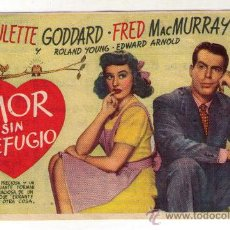 Cine: AMOR SIN REFUGIO - PAULETTE GODDARD - 1944 - PUBLICIDAD EN CINEMA SABOYA. Lote 31722362