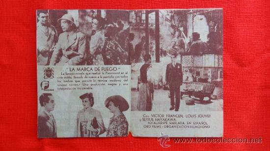 Cine: LA MARCA DE FUEGO, VICTOR FRANCEN,PROGRAMA DOBLE DE 1941, CON PUBLICIDAD CINEMA FAMILIAR EL LOCAL - Foto 2 - 31835718
