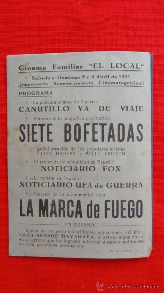 Cine: LA MARCA DE FUEGO, VICTOR FRANCEN,PROGRAMA DOBLE DE 1941, CON PUBLICIDAD CINEMA FAMILIAR EL LOCAL - Foto 3 - 31835718