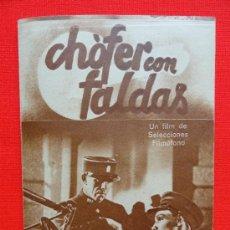 Cine: CHOFER CON FALDAS, PROGRAMA DOBLE ORIGINAL FILMÓFONO, AÑOS 30, EXCELENTE ESTADO, SIN PUBLICIDAD. Lote 31867213
