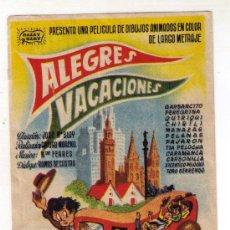 Cine: ALEGRES VACACIONES - DIBUJOS ANIMADOS - 1948 - PUBLICIDAD GRAN CINE-TEATRO CAPITOL. Lote 31871498