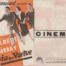 Cine: LA NOVIA QUE VUELVE. TRÍPTICO DE PARAMOUNT. MALAGA CINEMA 1940.. Lote 31933087