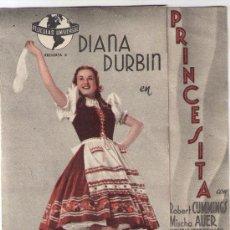 Cine: PROGRAMA DOBLE PRINCESITA - DIANA DURBIN - 1940 - DIANA DURBIN - SIN PUBLICIDAD. Lote 31974438