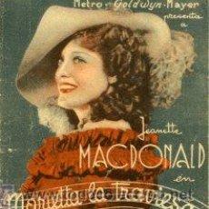 Cine: MARIETTA LA TRAVIESA. JEANETTE MACDONALD.- TRIPTICO. CINES CASTELAR Y COLISEO DE ELDA (ALICANTE). Lote 31976582