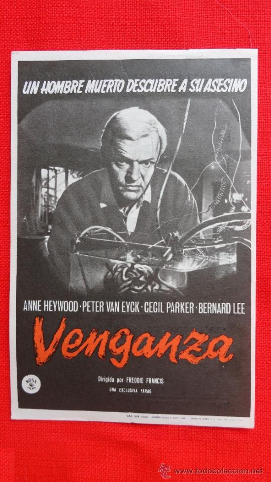 VENGANZA, IMPECABLE PROGRAMA SENCILLO 1966, CON PUBLICIDAD TEATRO BARTRINA (Cine - Folletos de Mano - Terror)