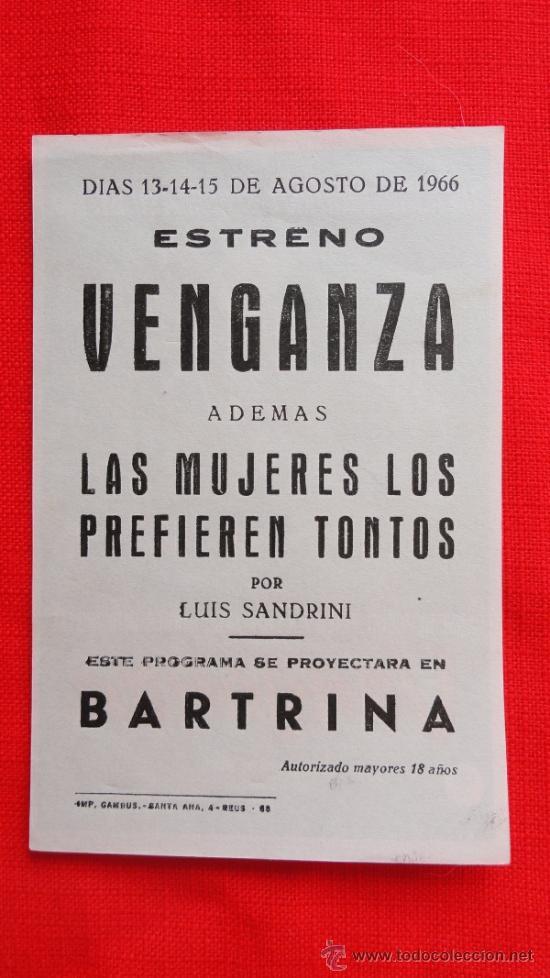 Cine: VENGANZA, IMPECABLE PROGRAMA SENCILLO 1966, CON PUBLICIDAD TEATRO BARTRINA - Foto 2 - 32005482