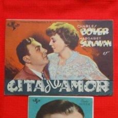 Flyers Publicitaires de films Anciens: CITA DE AMOR, 2 IMPECABLES PROGRAMAS DOBLE Y SENCILLO, CHARLES BOYER, CP CINES RAMBLAS Y MONTERROSA. Lote 32012823