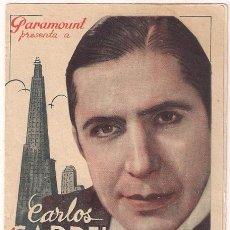 Cine: EL TANGO EN BROADWAY PROGRAMA DOBLE PARAMOUNT CARLOS GARDEL. Lote 32032039