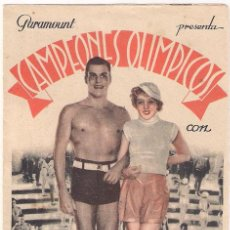 Flyers Publicitaires de films Anciens: CAMPEONES OLIMPICOS PROGRAMA DOBLE PARAMOUNT IDA LUPINO BUSTER CRABBE. Lote 32032322