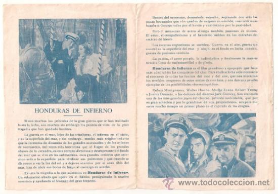 Cine: HONDURAS DE INFIERNO PROGRAMA DOBLE MGM ROBERT MONTGOMERY WALTER HUSTON MADGE EVANS - Foto 2 - 32124984